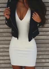 dress,white,white dress,black,black jacket,jacket,leather,leather jacket,black leather jacket,mini dress,bodycon,bodycon dress,summer dress,summer outfits,girly dress,birthday dress,clubwear,club dress,sexy party dresses,sexy,sexy dress,party outfits,date outfit
