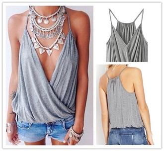 shirt grey t-shirt indie boho jewels