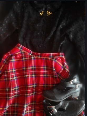 blouse checked skirt checkered black red point spikes grunge grunge witch modern witch karenaguilera skirt