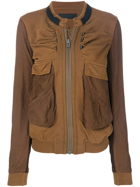 Haider Ackermann - cargo pocket bomber jacket - women - Cotton/Wool - M, Brown, Cotton/Wool