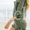 Army green long sleeve lace up playsuit -shein(sheinside)