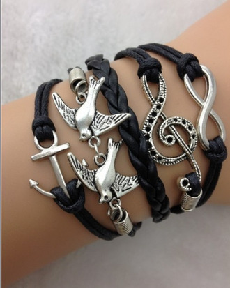 jewels leather bracelets black anchor bracelet music note swallow anchor