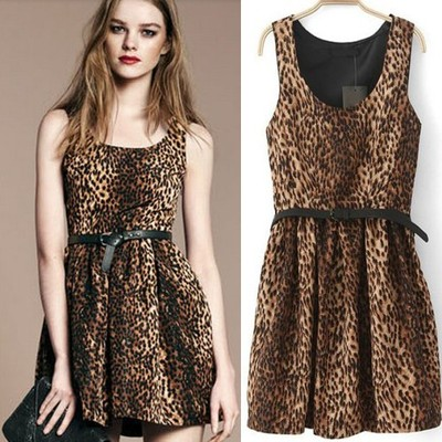 yourfashionsandcute | Leopard Scoop Neck Sleeveless Pleated Sundress | Online Store Powered by Storenvy