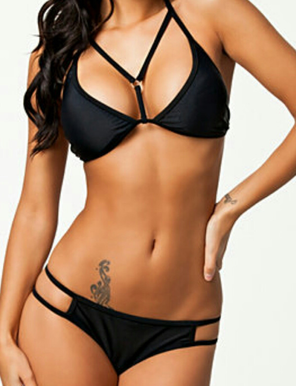 swimwear bikini black strings