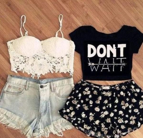 t-shirt shorts shirt white lace crop top bustier crop top black crop top denim shorts flowered shorts