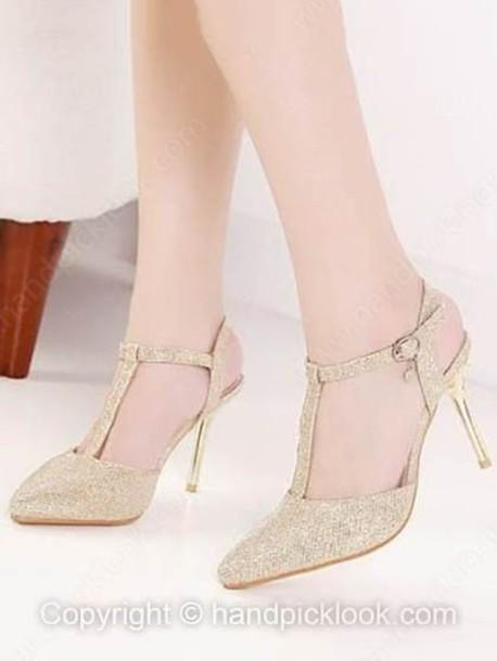 shoes high heels golden shes wheretoget. Black Bedroom Furniture Sets. Home Design Ideas