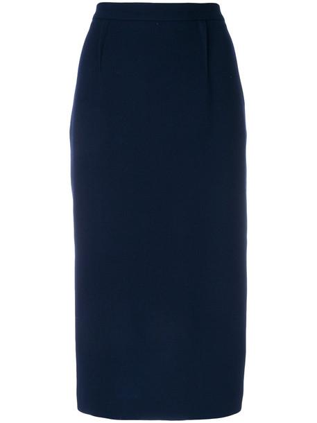 Roland Mouret skirt pencil skirt high women blue wool