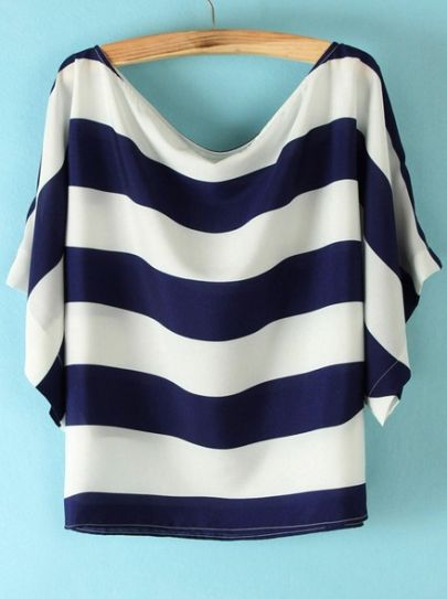 Blue White Striped Loose Batwing Chiffon Blouse