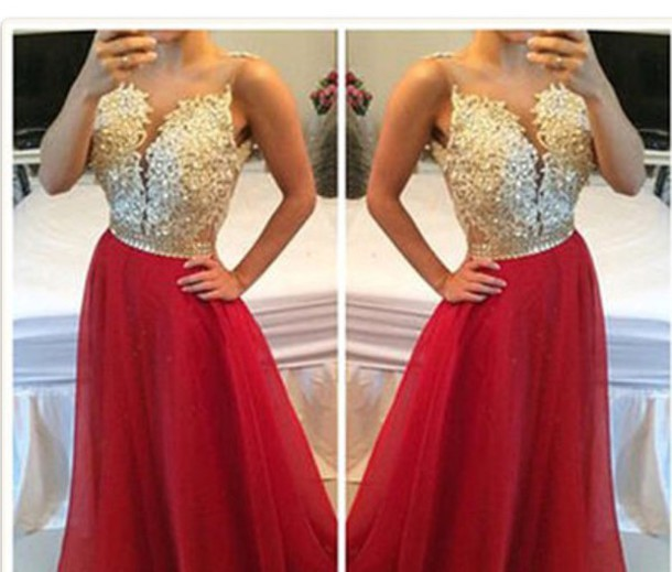 dress, prom dress, homecoming, red, gold, strapless - Wheretoget