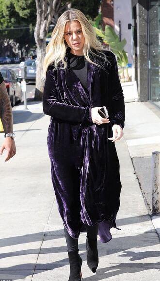 coat velvet purple streetstyle fall outfits fall coat khloe kardashian kardashians
