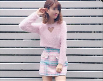 skirt fluffy kawaii cute plaid plaid skirt knitwear heart korean fashion japan japanese pastel pockets pink baby blue pink sweater heart sweater pastel sweater