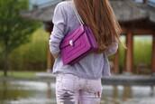 bag,bvlgari serpenti bag,bvlgari serpenti,purple,chain bag,sweater,grey sweater,pants,pink jeans,jeans,tumblr,bulgari serpenti bag