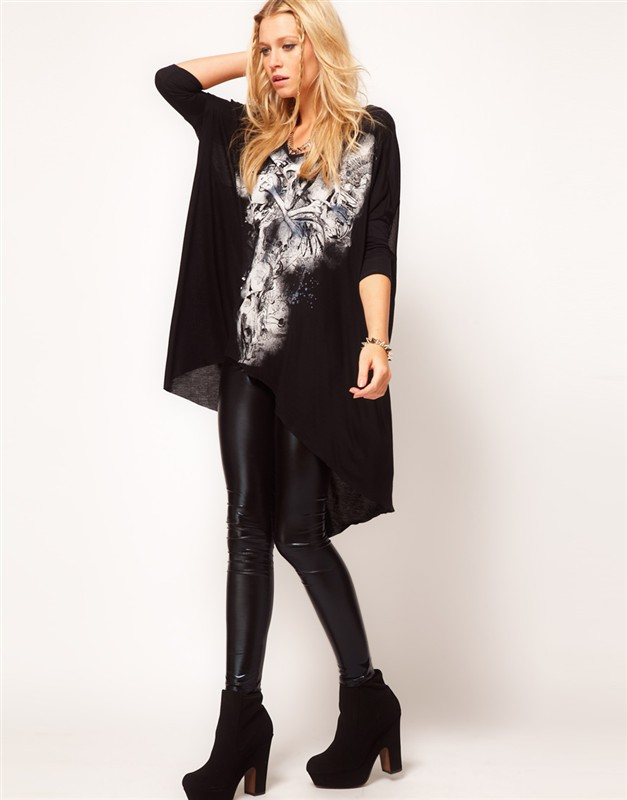 Aliexpress.com : Buy Free shipping Women's skeleton pattern loose long sleeved irregular black T shirt from Reliable t-shirt heavy suppliers on LOOK BOOK STORE WHOLESALE.
