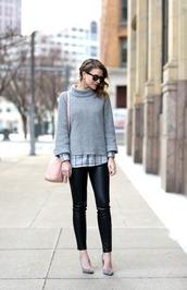 pennypincherfashion,blogger,sweater,shirt,pants,shoes,bag,jewels,grey sweater,pink bag,grey heels,high heel pumps,winter outfits
