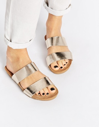 shoes sliders flats sandals gold