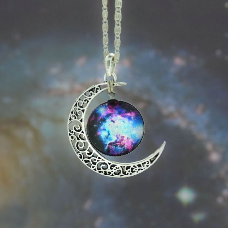 Beautiful glass galaxy pendant silver chain & moon necklace.