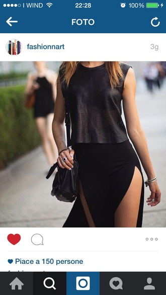 skirt black slit nyfw fashion week 2015 long blond blondie split skirt top