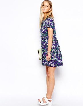 ASOS Petite | ASOS PETITE Exclusive Tropical Bird Smock Dress at ASOS