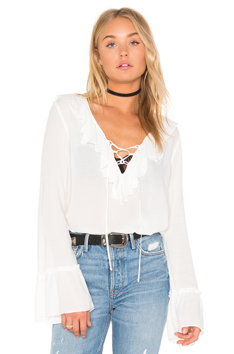 blouse boho blouse lace up white blouse bell sleeves