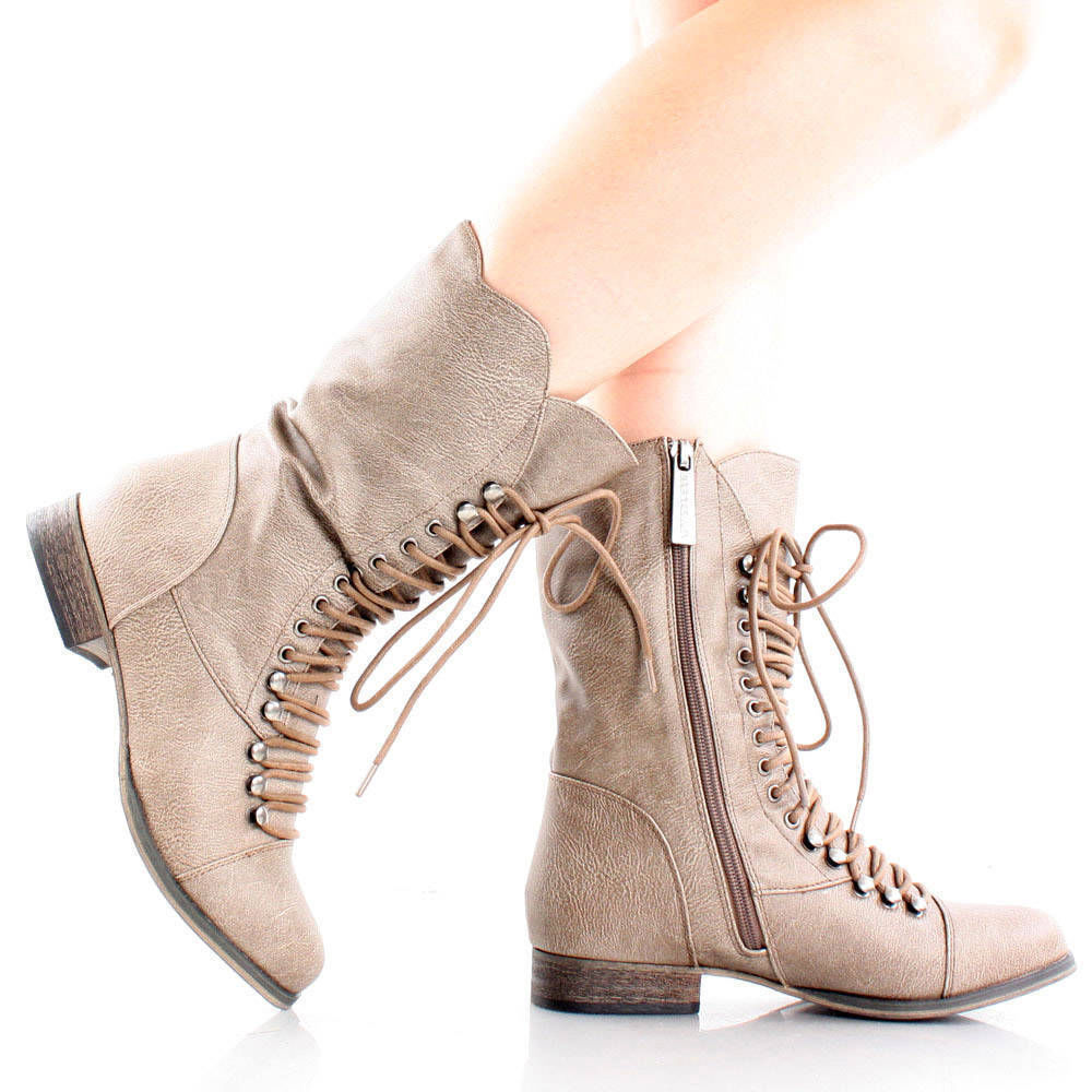 Beige Steampunk Combat Hiking Motorcycle Lace Up Mid Calf Boots Women Flat 10 | eBay
