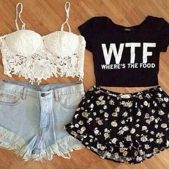 print summer outfits t-shirt ripped jeans style aztec bustier corset top bra bralette lace up crochet hot classy white t-shirt white crop tops knitwear streetwear streetstyle high waisted shorts high waisted black and white crop tops floral shorts band t-shirt