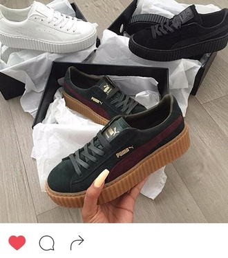 shoes puma platform shoes rihana fenty x puma black white burgundy gold brown low top sneakers suede sneakers