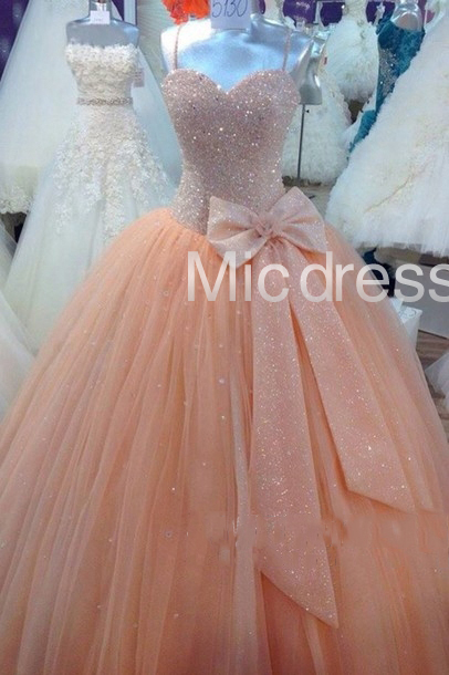 5ca5e6f7e418 Stunning Peach Sequin Beaded Ball Gown Long Quinceanera Dresses Sweetheart  Big Bow Floor Length Tulle Wedding Dresses Prom Dress Evening Gowns on  Storenvy