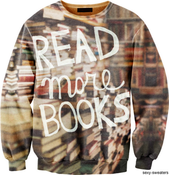 sweater books cute oversized sweater jumper text