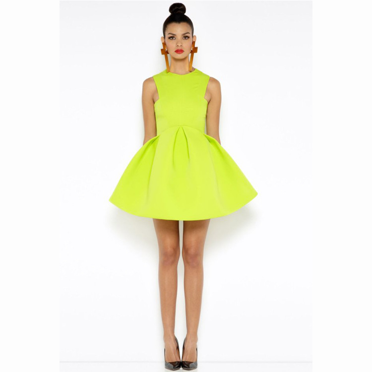 Spring 2014 Women Casual Dress Neon Color Little Black Dresses Girl Brand Vintage Cut Out Mini Pleated Dress Cute Ball Gown-in Dresses from Apparel & Accessories on Aliexpress.com