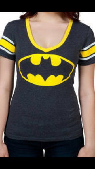 batman black and yellow v neck top
