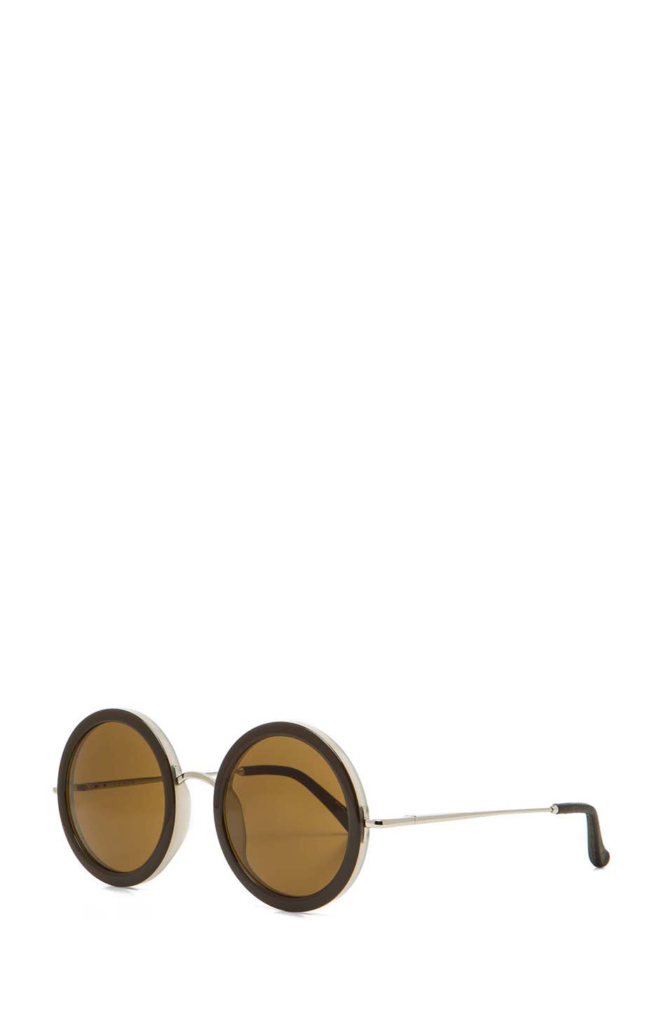 The Row|Signature Round Sunglasses in Iron & Blush