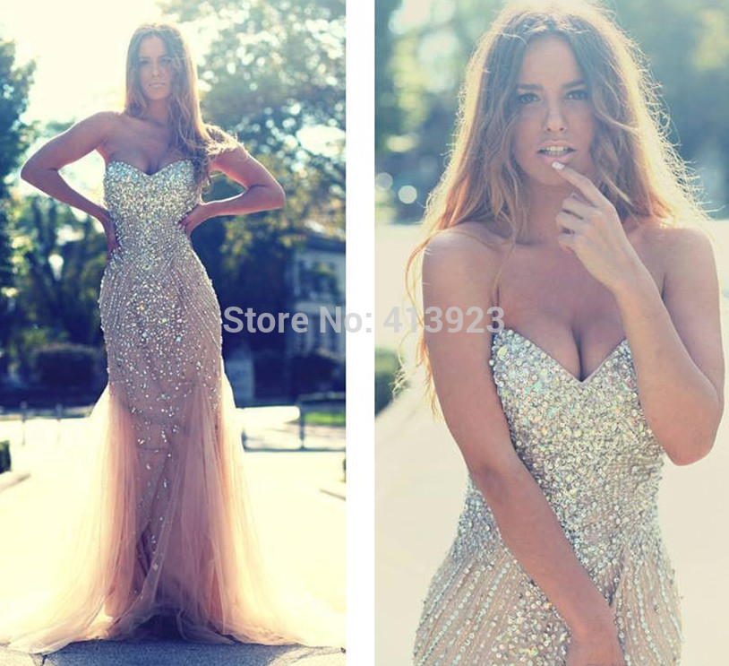 Aliexpress.com : Buy Mermaid Prom Dresses 2014 Long Crystal Rhinestone Formal Evening Gown from Reliable gown silk suppliers on Chaozhou City Xin Aojia dress Factory