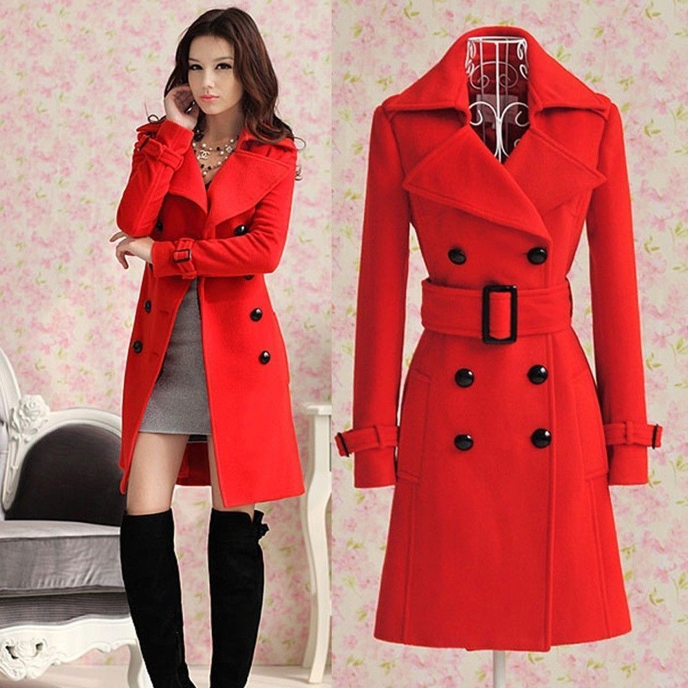 2013 Women's Red Trench Slim Winter Warm Coat Long Wool Jacket Outwear with Belt | eBay
