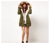 coat,army green jacket,fur coat,winter coat,autumn/winter,fashion,cute jacket,green jacket,hair accessory,jeans