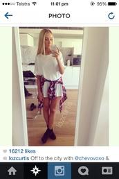 dress,white,flannel shirt,grunge,lozcurtis,shoes,shirt