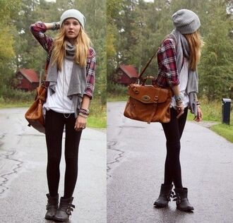 top plaid flannel fall outfits winter outfits cute beanie scarf red blue black grey perfect