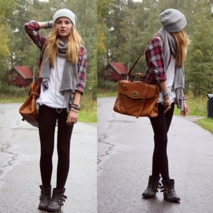 red scarf cute black top grey blue flannel beanie winter outfits fall outfits perfect scarf red