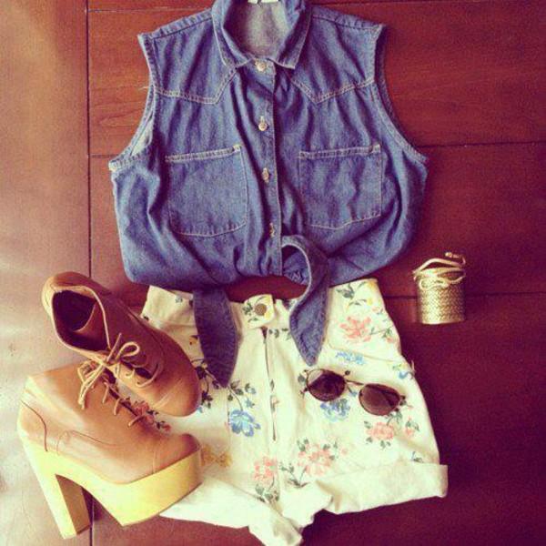 shorts flowered shorts denim shirt jewels shoes booties summr fashion sunglasses shirt