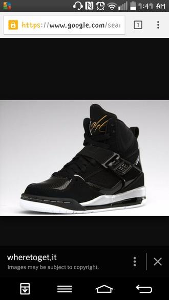 shoes black white gold jordan flight 45