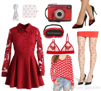 fashion addict blogger heart collared dress sleep mask red dress long sleeve dress winter dress red lingerie valentines day