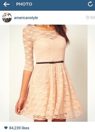 dress peach dress black belt lace dress
