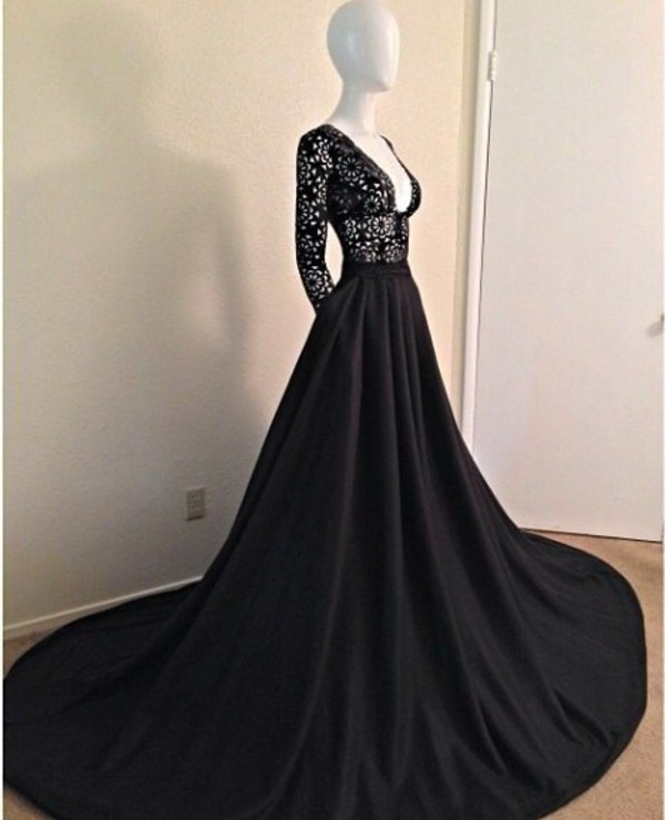 dress, black, open chest, long gown, classy, gown, sleeves, black ...