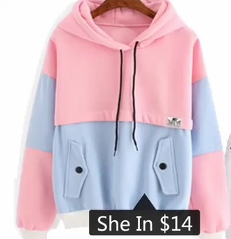 sweater pink blue cotton candy pretty cute summer pastel nice hoodie fashion trendy cool long sleeves fall outfits winter outfits fall sweater winter sweater sheinside girl girly girly wishlist colorblock sweatshirt comfy pink and blue hoodie