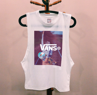 shirt vans hipster muscle tee t-shirt vans warped tour tank top top vans t-shirt vans of the wall vans galaxy white skater skirt skateboard skater girl skater