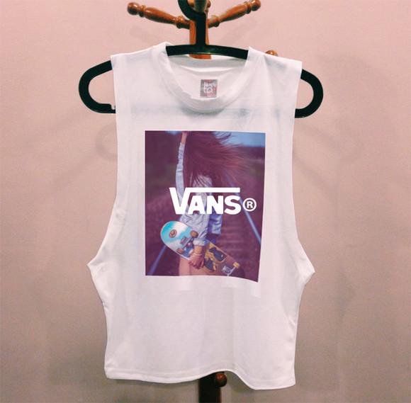 shirt vans t-shirt top vans of the wall white tank top vans t-shirt vans galaxy skater skirt skateboard skater girl skater hipster muscle tank