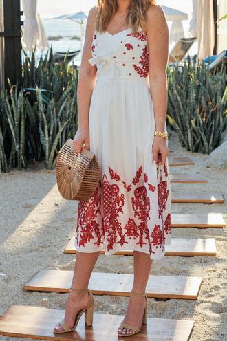 ohsoglam blogger dress shoes bag sunglasses midi dress sandals high heel sandals spring outfits