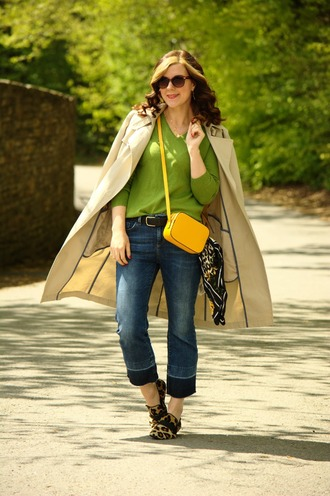 rachelthehat blogger sweater jeans bag shoes coat trench coat yellow bag crossbody bag loafers green sweater spring outfits