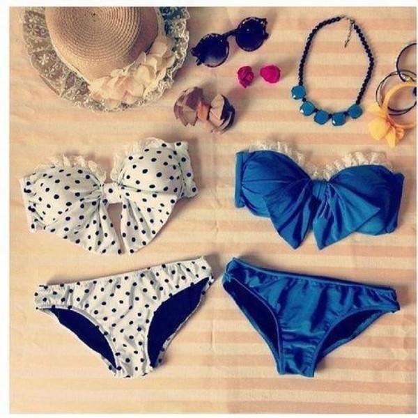 swimwear bikini blue bow bow bikini summer black and white polka dots bandeau bikini