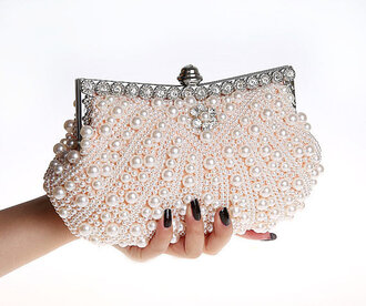 bag clutch beaded pearl