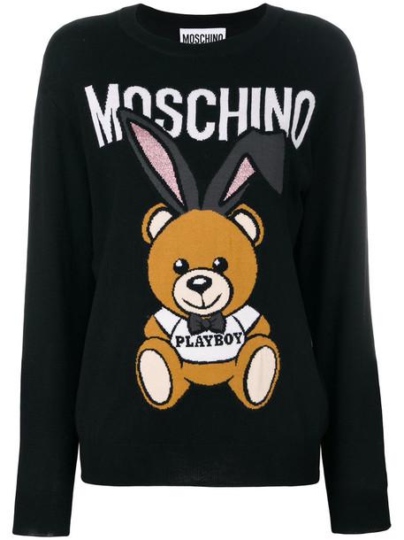 sweater bear women black wool